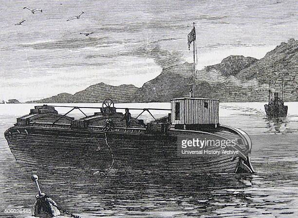 Dumping barge introduced into Britain from New York Refuse to be discharged was contained in two hinged compartments which could be opened separately...