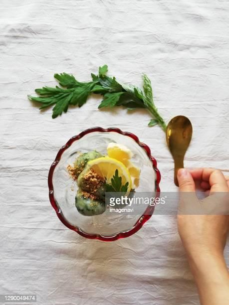 dumpling seasoned mugwort, japanese food - japanese mugwort stock pictures, royalty-free photos & images