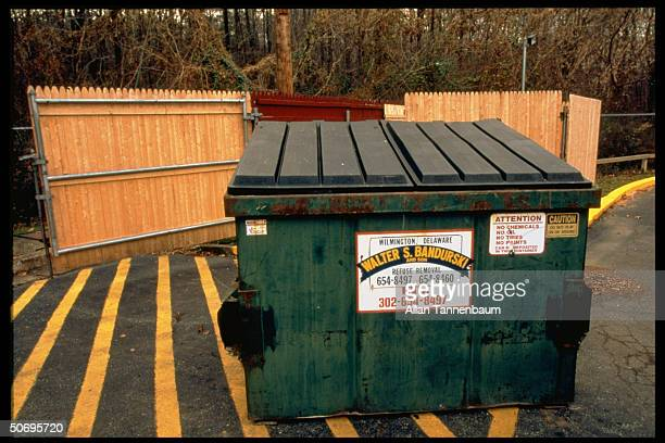 Dumpster in which newborn baby of teens Amy Grossberg boyfriend Brian Peterson was found dead w multiple skull fractures shortly after its birth...