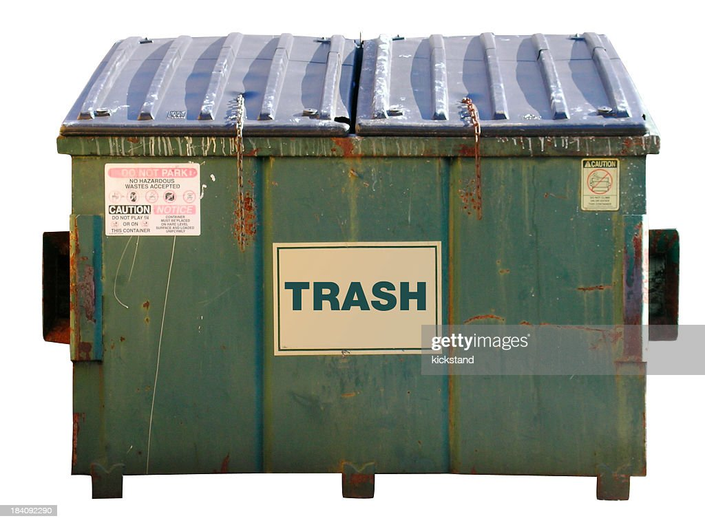 A Dumpster With The Word Trash On The Front