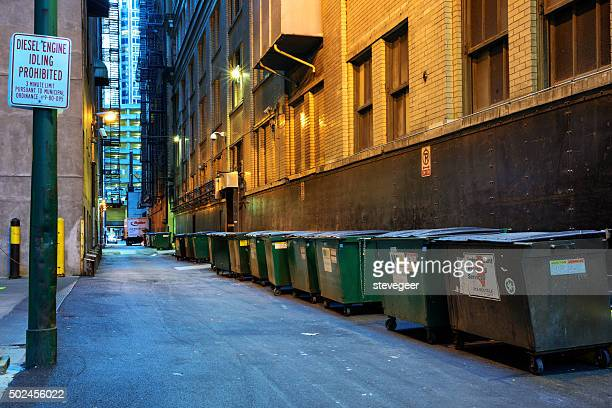 Dumpsters lining service alley, downtown Chicago