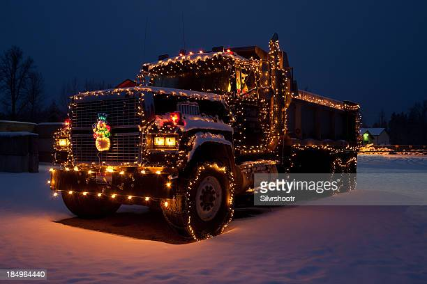 dumptruck outfitted christmas lights - dump truck stock pictures, royalty-free photos & images