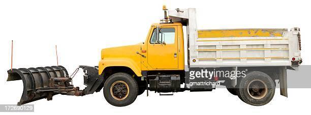 kipplaster mit plow - schneefahrzeug stock-fotos und bilder