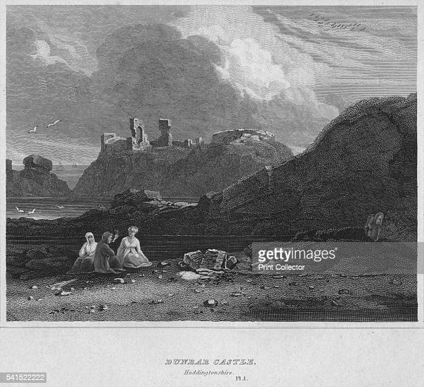 Dunbar Castle Haddingtonshire Pl 1' 1814 From The Border Antiquities of England and Scotland Vol II by Walter Scott Esq [Longman Co London 1814]...