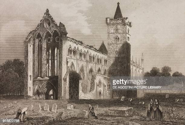 Dunblane Cathedral Scotland United Kingdom engraving by Schroeder from Angleterre Ecosse et Irlande Volume IV by Leon Galibert and Clement Pelle...