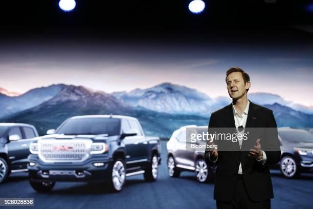 Duncan Aldred vice president of BuickGMC sales for General Motors Co speaks before unveiling the General Motors Co 2019 GMC Sierra Denali truck...