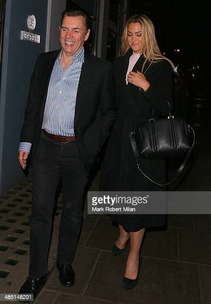 Duncan Bannatyne and Cassandra Harris at the Groucho club on April 16 2014 in London England