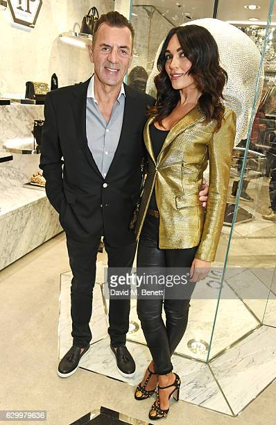 Duncan Bannatyne and Nigora Whitehorn attend a cocktail party hosted by Philipp Plein to celebrate the opening of the Philipp Plein London boutique...