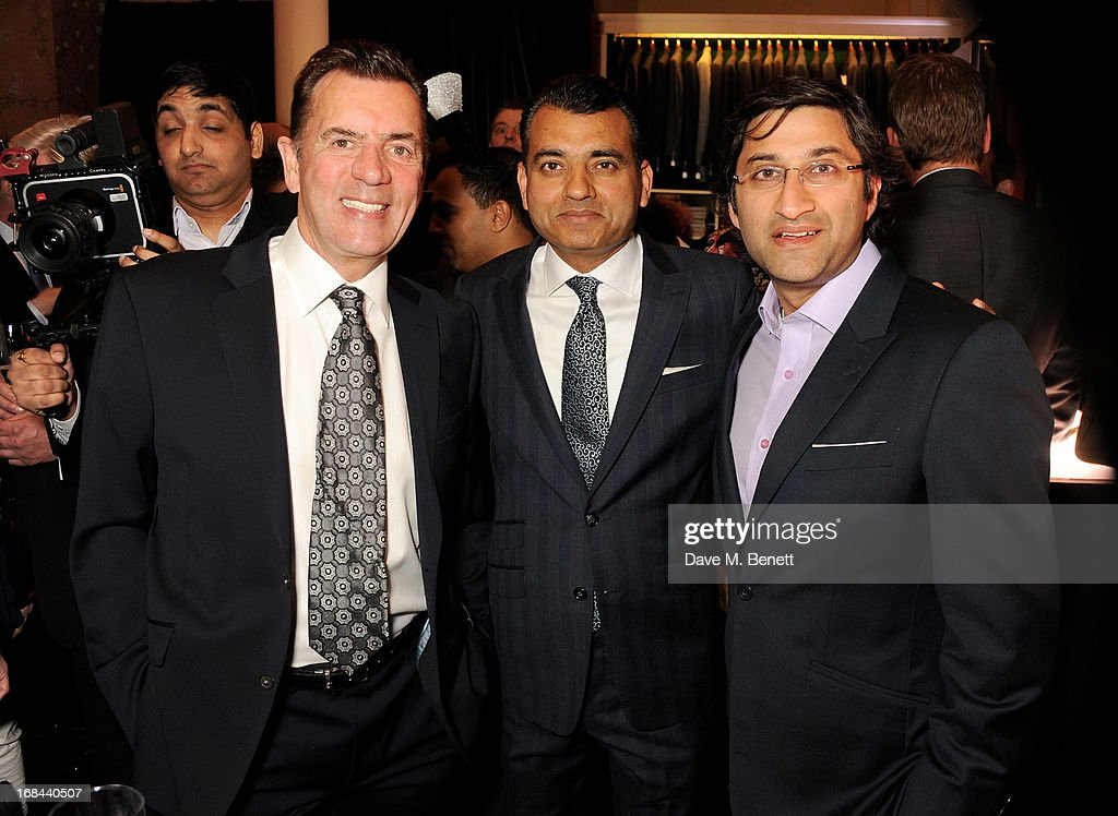 Duncan Bannatyne, Apsley managing director Arshad Mahmood and Asif Kapadia attend 'A Night of Sporting Gold' hosted by bespoke tailor Apsley at their Pall Mall showroom on May 9, 2013 in London, England.