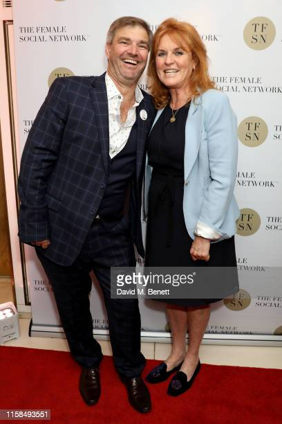 Duncan Bendall and Sarah Ferguson Duchess of York attend the UK launch of The Female Social Network at The Ivy on June 26 2019 in London England...