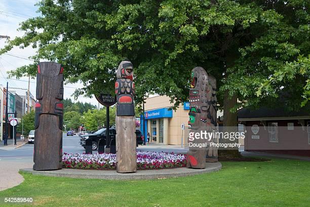 Duncan, British Columbia Street Scene and Totem Poles