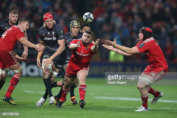 Duncan Casey of Munster catches the ball during the European Rugby Champions Cup match between Munster and Saracens at Thomond Park on October 24...