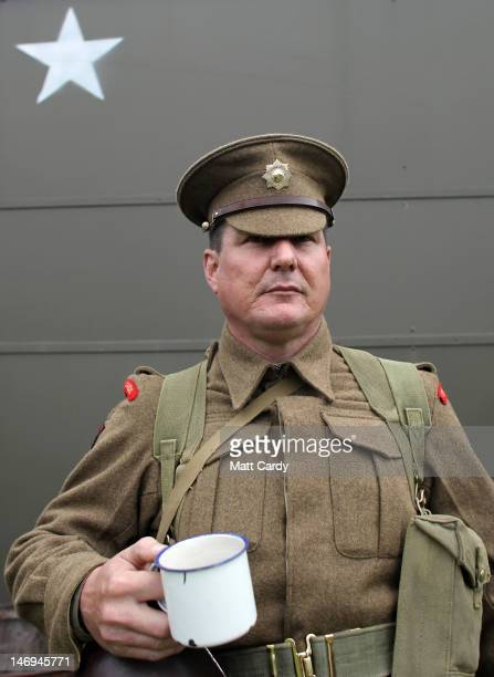 Duncan Edwards dresses as a Second World War Coldstream Guard as part of the two-day Maiden Newton At War 1940s re-enactment weekend in Maiden Newton...