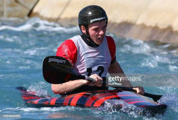 Duncan Edwards U23 Breadalbane CC compete in K1 Men Final during Canoe Slalom UK Championships at Lee Valley White Water Centre , London, England on...