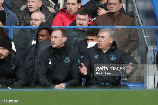 Duncan Ferguson and Carlo Ancelotti of Everton during the Premier League match between Chelsea FC and Everton FC at Stamford Bridge on March 08 2020...