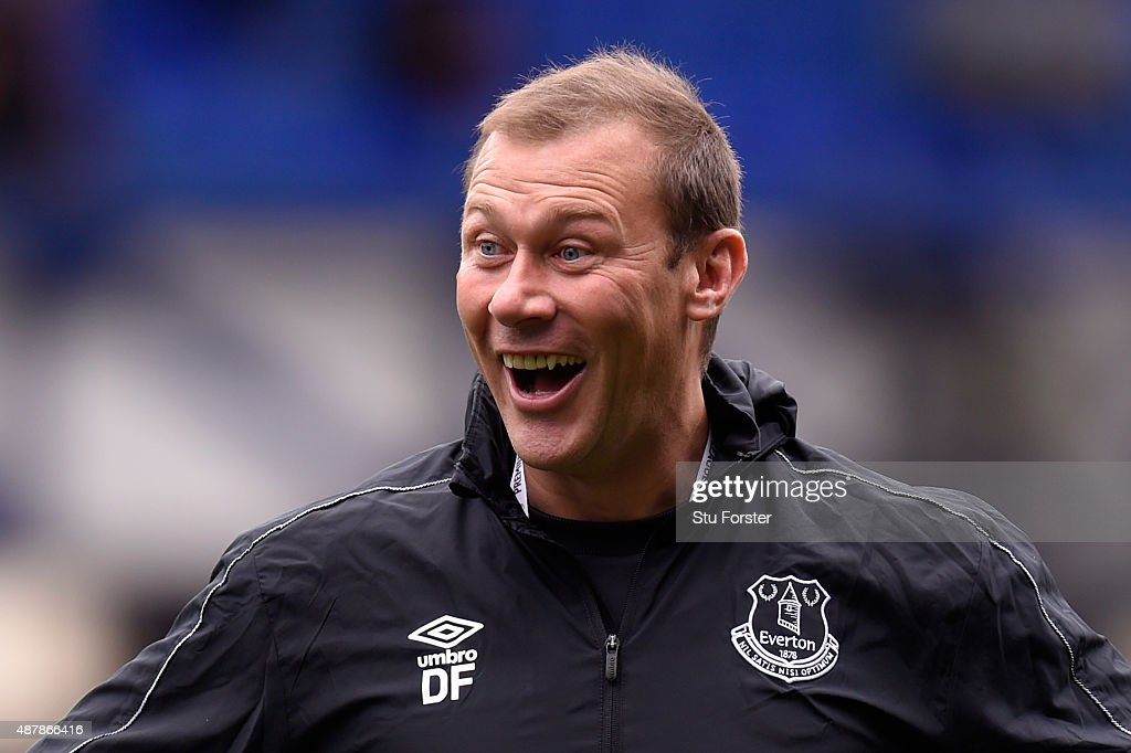 Duncan Ferguson, coach at Everton smiles prior to the Barclays Premier League match between Everton and Chelsea at Goodison Park on September 12, 2015 in Liverpool, United Kingdom.