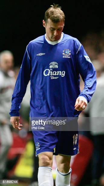 Duncan Ferguson of Everton gets sent off after an incident with Hermann Hreidarsson of Charlton during the Barclays Premiership match between...