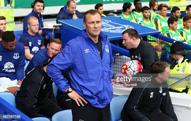 Duncan Ferguson of Everton in his team dugout prior to the Duncan Ferguson Testimonial match between Everton and Villarreal at Goodison Park on...