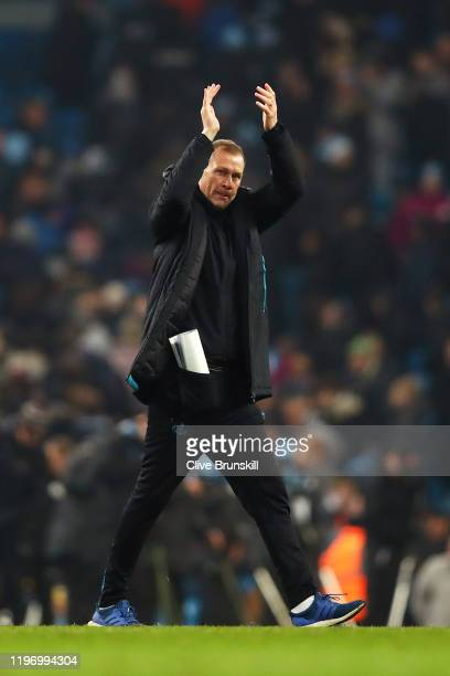 Duncan Ferguson shows his appreciation to the fans after the Premier League match between Manchester City and Everton FC at Etihad Stadium on January...