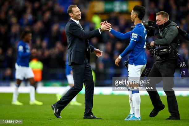 Duncan Ferguson the interim head coach / manager of Everton celebrates at full time during the Premier League match between Everton FC and Chelsea FC...