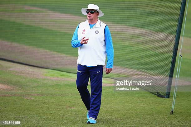 Duncan Fletcher, coach of India looks on during a India nets session ahead of the first Investec Test Series at Trent Bridge on July 8, 2014 in...