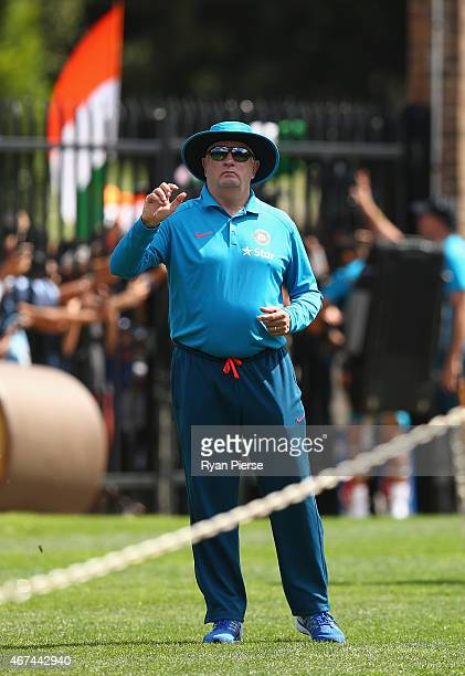 Duncan Fletcher, coach of India, looks on during the India nets session at Sydney Cricket Ground on March 25, 2015 in Sydney, Australia.