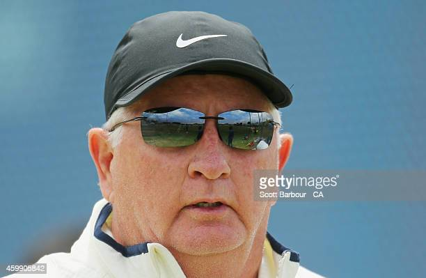 Duncan Fletcher, coach of India looks on during the international tour match between the Cricket Australia via Getty Images XI and India at Gliderol...