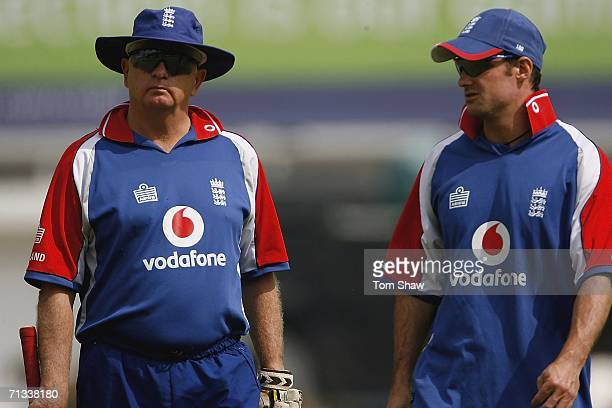 Duncan Fletcher of England has a chat with Andrew Strauss of England during the England nets session prior to the 5th One Day International Match...