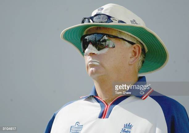 Duncan Fletcher of England looks on during the England nets session at the Queens Park Oval, on March 17 in Port of Spain, Trinidad.
