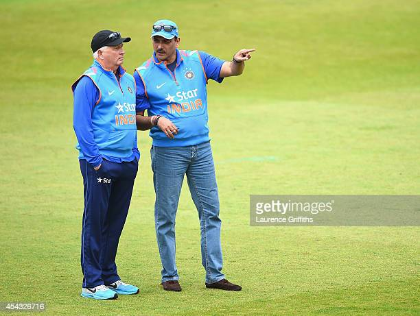 Duncan Fletcher of India talks with Ravi Shastri during net practice at Trent Bridge on August 29, 2014 in Nottingham, England.