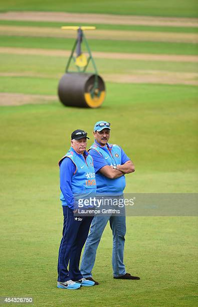 Duncan Fletcher of India talks with Ravi Shastri during net practice at Trent Bridge on August 29 2014 in Nottingham England