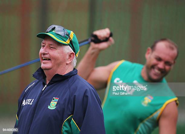 Duncan Fletcher of South Africa laughs as Jacques Kallis of South Africa stretches during a South Africa Nets Session at Centurion Park on December...