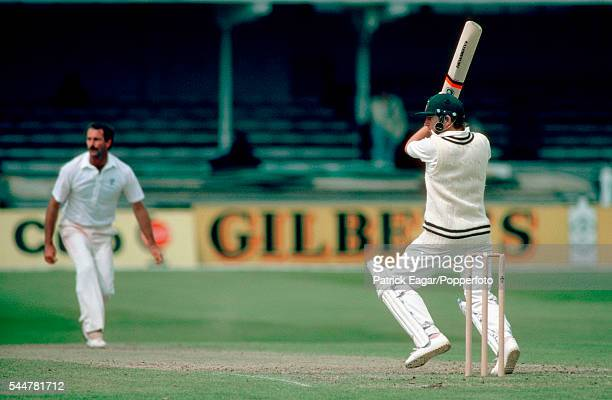 Duncan Fletcher of Zimbabwe hits a delivery from Dennis Lillee of Australia during his innings of 69 runs in the Prudential World Cup group match...