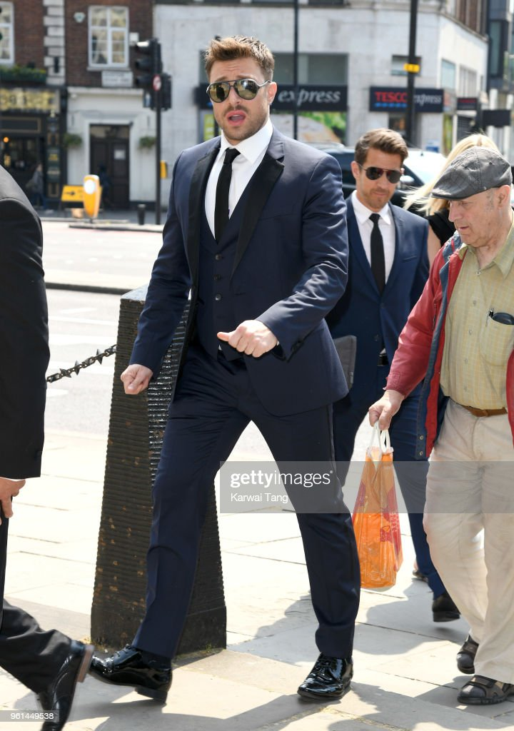 Duncan James attends the funeral of Dale Winton at the Old