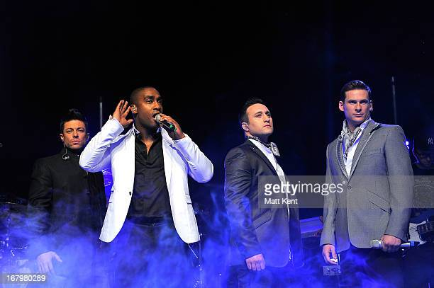 Duncan James Simon Webbe Antony Costa and Lee Ryan of Blue perform at Shepherds Bush Empire on May 3 2013 in London England