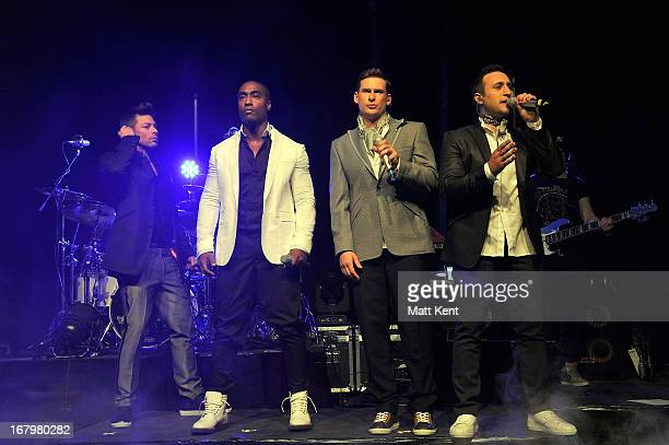 Duncan James Simon Webbe Lee Ryan and Antony Costa of Blue perform at Shepherds Bush Empire on May 3 2013 in London England