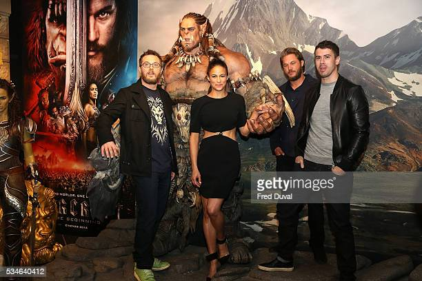 Duncan Jones Paula Patton Travis Fimmel and Toby Kebbell attends the launch of the Warcraft Experience at Madame Tussauds on May 27 2016 in London...