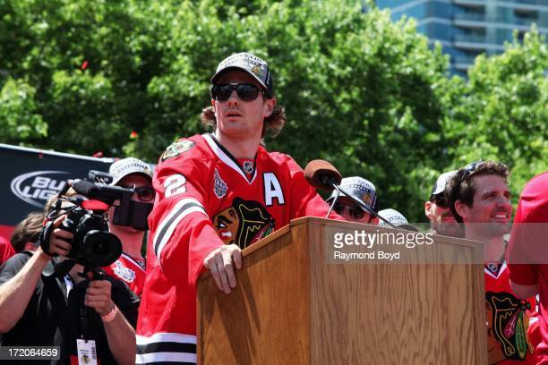 Duncan Keith, defenseman for the Chicago Blackhawks, speaks during the Chicago Blackhawks' 2013 Stanley Cup Championship rally at Hutchinson Field in...