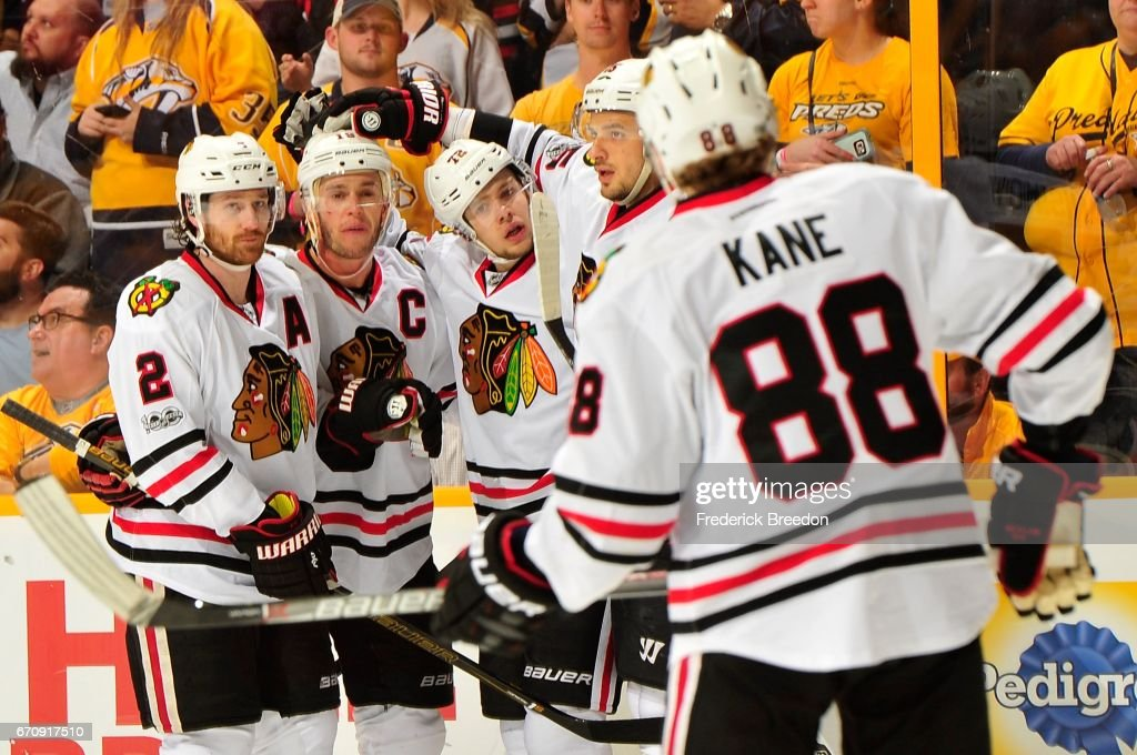 Duncan Keith #2, Jonathan Toews #19, Artemi Panarin #72, and Patrick Kane #88 of the Chicago Blackhawks gather after a late goal in a 4-1 loss against the Nashville Predators during the third period in Game Four of the Western Conference First Round during the 2017 NHL Stanley Cup Playoffs at Bridgestone Arena on April 20, 2017 in Nashville, Tennessee.