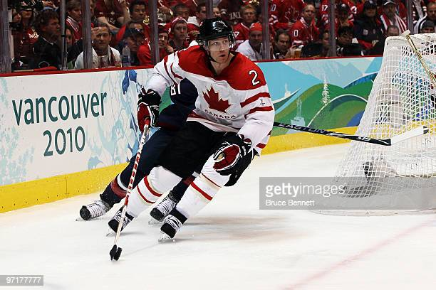 Duncan Keith of Canada skates with the puck during the ice hockey men's gold medal game between USA and Canada on day 17 of the Vancouver 2010 Winter...