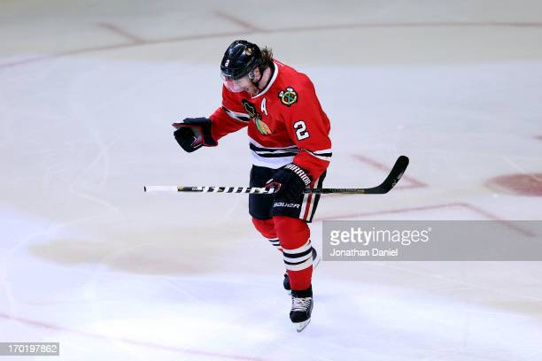 Duncan Keith of the Chicago Blackhawks celebrates after he scored a goal in the first period against the Los Angeles Kings during Game Five of the...