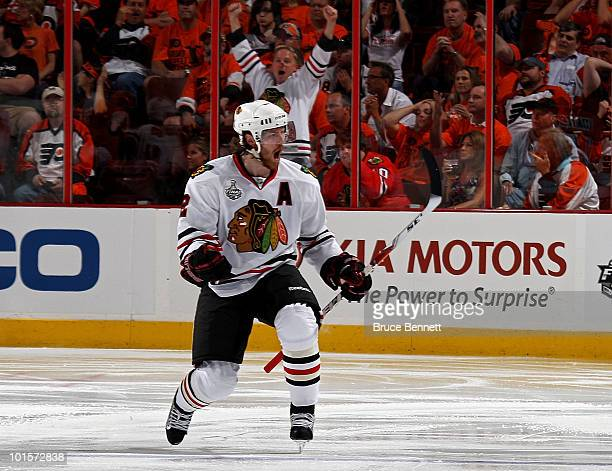 Duncan Keith of the Chicago Blackhawks celebrates after scoring a goal in the second period against the Philadelphia Flyers in Game Three of the 2010...