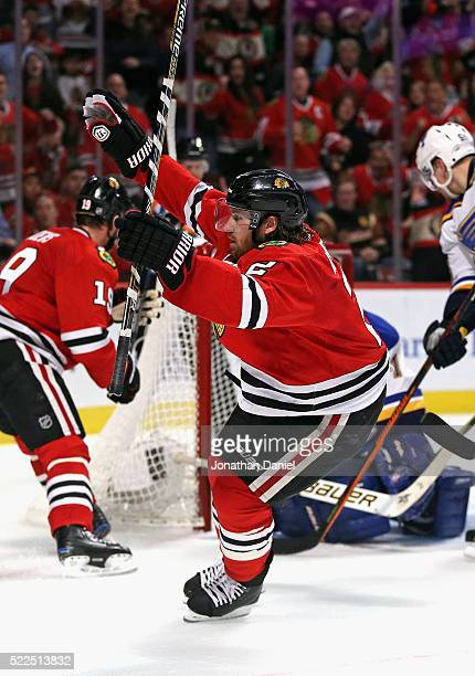Duncan Keith of the Chicago Blackhawks celebrates his second period goal against the St Louis Blues in Game Four of the Western Conference First...