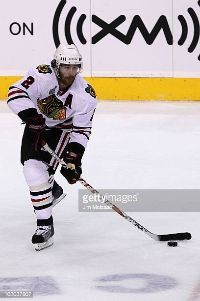 Duncan Keith of the Chicago Blackhawks handles the puck against the Philadelphia Flyers in Game Six of the 2010 NHL Stanley Cup Final at the Wachovia...