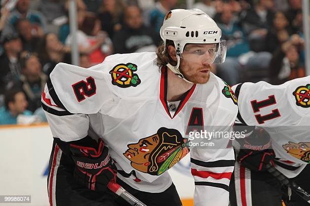Duncan Keith of the Chicago Blackhawks lines up for a faceoff in Game One of the Western Conference Finals during the 2010 NHL Stanley Cup Playoffs...