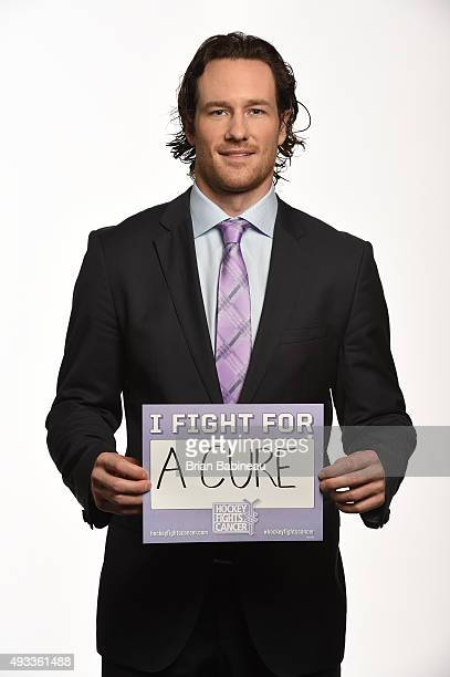 Duncan Keith of the Chicago Blackhawks poses for pictures at the NHL Player Media Tour at the Ritz Carlton on September 9 2015 in Toronto Ontario