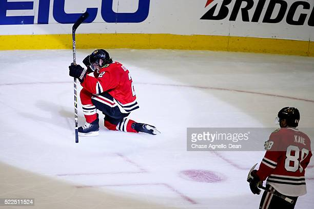 Duncan Keith of the Chicago Blackhawks reacts after scoring against the St Louis Blues in the second period of Game Four of the Western Conference...