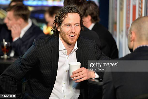 Duncan Keith of the Chicago Blackhawks waits backstage at the NHL AllStar Fantasy Draft as part of the 2015 NHL AllStar Weekend at Greater Columbus...