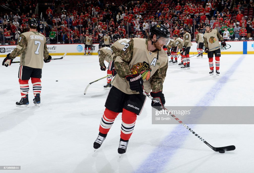 Duncan Keith #2 of the Chicago Blackhawks warms up in a camo jersey in honor of Veterans Day prior to the game against the Montreal Canadiens at the United Center on November 5, 2017 in Chicago, Illinois.