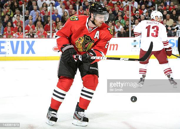 Duncan Keith of the Chicago Blackhawks watches the puck during Game Four of the Western Conference Quarterfinals against the Phoenix Coyotes during...
